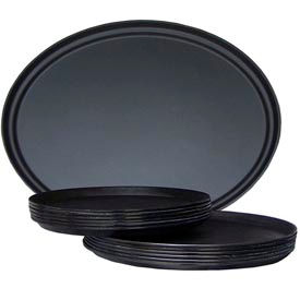 "Molded Fiberglass 14"" Round Non-Slip Serving Tray 311008, Black, Pkg Qty 36 - Pkg Qty 12"