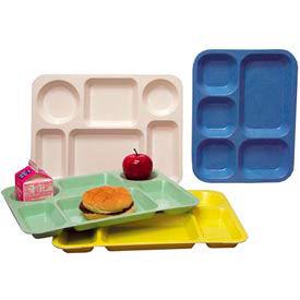 """Molded Fiberglass 6 Compartment School Tray 345008 -15-1/2""""L x 11-5/8""""W, Pkg Qty 12, Yellow - Pkg Qty 12"""