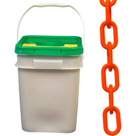 """Plastic Chain - 1-1/2"""" Links - In A Pail - Safety Orange - 300 Feet - Trade Size 6"""