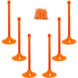 """Plastic Stanchion Kit - Orange -6pk 50' of 2"""" Chain W/ C-Hooks Incl. - 2"""" Pole, 14"""" Base, 41""""H"""