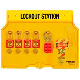 Master Lock® Safety 4-Lock Padlock Station, Zenex™ Thermoplastic Padlocks, 1482BP410