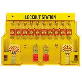 Master Lock® Safety 10-Lock Padlock Station, Zenex™ Thermoplsatic Padlocks, 1483BP410