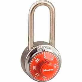Master Lock® General Security Combo Padlock LH Shackle, Orange Dial