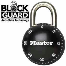 "Master Lock® SmoothSpin Combination Padlock, 11/16"" Shackle Black Dial"