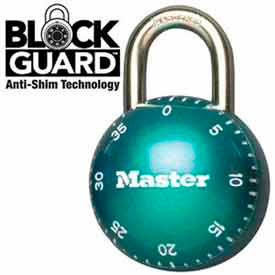 "Master Lock® SmoothSpin Combination Padlock, 11/16"" Shackle Green Dial"