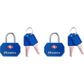 "Master Lock® TSA-Accept Keyed-Alike Metal Padlock, 1-1/4""W, No. 4681TBLR, Red or Blue, 2-pack - Pkg Qty 4"