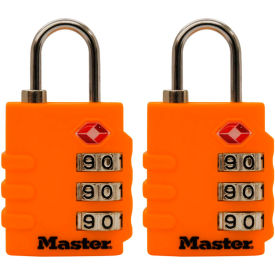 "Master Lock® No. 4684T TSA-Accept Combination Zinc Padlock 1-3/8""W Assorted Colors - 2-Pack - Pkg Qty 4"