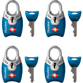 "Master Lock® No. 4689Q TSA-Accept Keyed-Alike Metal Padlock 1""W Assorted Colors - 4-Pack - Pkg Qty 4"