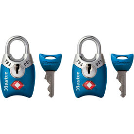 "Master Lock® No. 4689T TSA-Accept Keyed-Alike Metal Padlock, 1""W Assorted Colors - 2-Pack - Pkg Qty 4"