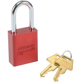 American Lock® Solid Aluminum Rectangular Padlock, Red - No A1106red - Pkg Qty 3