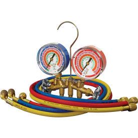 "Mastercool® 59161 Brass 2 Way Manifold Set 3 - 1/8"" Gauges 3 - 60"" Hoses Standard 1/4"" Fittings"