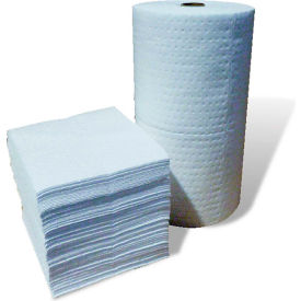 "Oil-Only Absorbent Pads, Single Weight, 18"" x 15"", White, 200/Bale"
