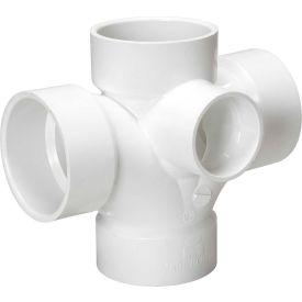 Mueller 05772 3 In. X 3 In. X 3 In. X 3 In. X 2 In. PVC Double Sanitary Tee W/Side Inlet - All Hub