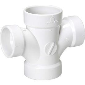 Mueller 05818 3 In. X 3 In. X 1-1/2 In. X 1-1/2 In. PVC Double Sanitary Tee Reducing - All Hub
