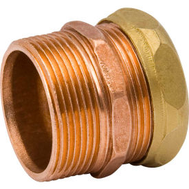 Mueller A 11407 1/2 In. X 1-1/4 In. Wrot Copper DWV Trap Adapter - MPT X Slip Joint
