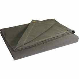 12' X 12' Super Heavy Duty 15 oz. Flame Resistant Canvas Tarp Olive Drab - CTF-15-01-1212
