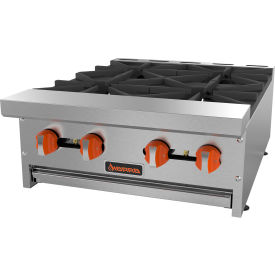 "Sierra Range SRHP-4-24 Hot Plate, 24""W, 4 Burners, 30,000 BTU Each, Manual Controls, Stainless Steel by"