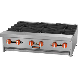 "Sierra Range SRHP-6-36 Hot Plate, 36""W, 6 Burners, 30,000 BTU Each, Manual Controls, Stainless Steel by"