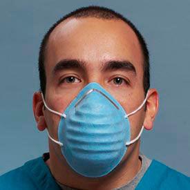 Defend® MK-1036 Premium Ear-Loop Molded Face Mask, Blue, 50/Box