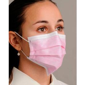 Defend® MK-1056 Anti-Fog Dual Fit Ear-Loop Face Mask, Pleated, Pink, 50/Box