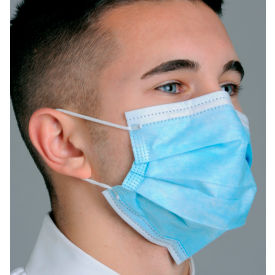 Defend® MK-1246 Breathe E-Z Dual Fit Ear-Loop Face Mask, Pleated, Blue, 50/Box