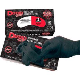 Defend® Blackjack Medical/Exam Textured Nitrile Glove, Powder-Free, Black, L, 100/Box, NG-8005