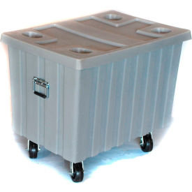 """Myton Bulk Shipping Poly Container MTE-2H5HL With Lid and Casters 41""""L x 28-1/4""""W x 32-1/2""""H, White"""