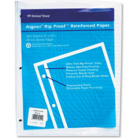 "National® Brand Rip Proof Reinforced Filler Paper 20122, 11"" x 8-1/2"", White, 100 Sheets/PK"