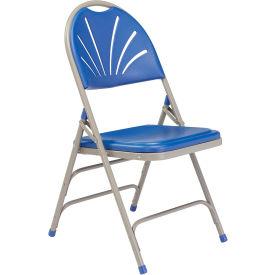 Polyfold Fan Back Triple Brace Folding Chair - Blue Seat/Gray Frame - Pkg Qty 4