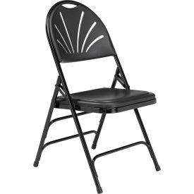 National Public Seating Plastic Folding Chair Triple Brace Black Package Count 4 by