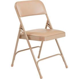 National Public Seating Vinyl Folding Chair - Beige Vinyl/Beige Frame - Pkg Qty 4