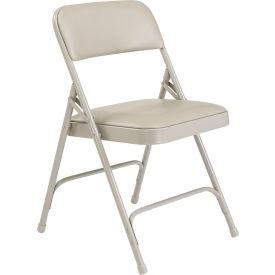 Premium Vinyl Upholstered Folding Chair - Gray Vinyl/Gray Frame - Pkg Qty 4