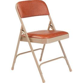 National Public Seating Vinyl Folding Chair - Brown Vinyl/Beige Frame - Pkg Qty 4