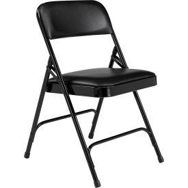 Premium Vinyl Upholstered Folding Chair - Black Vinyl/Black Frame - Pkg Qty 4