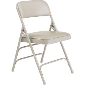 Premium Vinyl Upholstered Triple Brace Folding Chair - Gray Vinyl/Gray Frame - Pkg Qty 4
