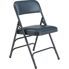 Premium Vinyl Upholstered Triple Brace Folding Chair - Blue Vinyl/Blue Frame - Pkg Qty 4