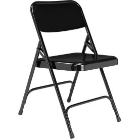 National Public Seating Steel Folding Chair - Premium with Double Brace - Black - Pkg Qty 4