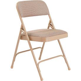 "National Public Seating Steel Folding Chair - 1-1/4"" Fabric Seat - Double Brace - Beige - Pkg Qty 4"