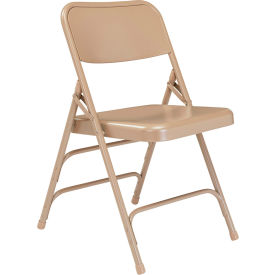 National Public Seating Steel Folding Chair - Premium with Triple Brace - Beige - Pkg Qty 4