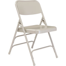 Premium All-Steel Triple Brace Double Hinge Folding Chair - Gray - Pkg Qty 4