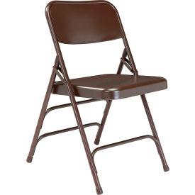 Premium All-Steel Triple Brace Double Hinge Folding Chair - Brown - Pkg Qty 4