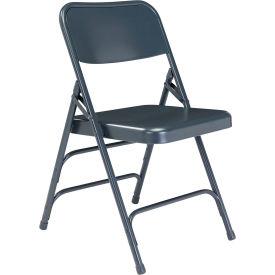 Premium All-Steel Triple Brace Double Hinge Folding Chair - Blue - Pkg Qty 4