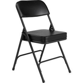 "National Public Seating Steel Folding Chair - 2"" Vinyl Seat - Double Brace - Black - Pkg Qty 2"