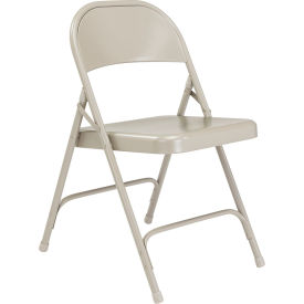 National Public Seating Steel Folding Chair - Standard - Gray - Pkg Qty 4