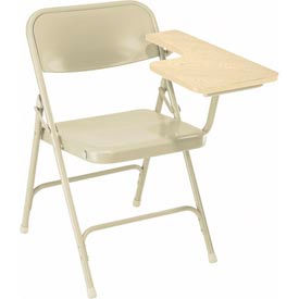 Premium All-Steel Folding Chair w/ Left Tablet Arm - Oak Tablet Arm/Beige Frame