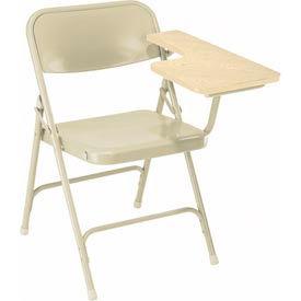 Premium All-Steel Folding Chair W/ Left Tablet Arm - Oak Tablet Arm/Beige Frame - Pkg Qty 2