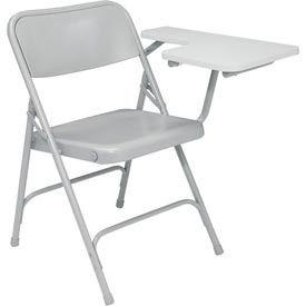 Premium All-Steel Folding Chair W/ Left Tablet Arm - Gray Tablet Arm/Gray Frame - Pkg Qty 2