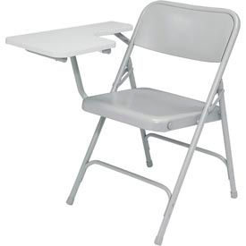 Premium All-Steel Folding Chair W/ Right Tablet Arm - Gray Tablet Arm/Gray Frame - Pkg Qty 2