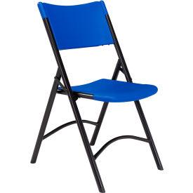 Blow Molded Resin Folding Chair - Blue Plastic/Black Frame - Pkg Qty 4