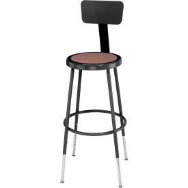 "Black Framed Stool, Round Hardboard 24""H Seat w/Chrome-Plated Adjustable Height Inserts - Pkg Qty 4"